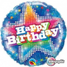 'Happy Birthday!' Blue Holographic Foil Balloon